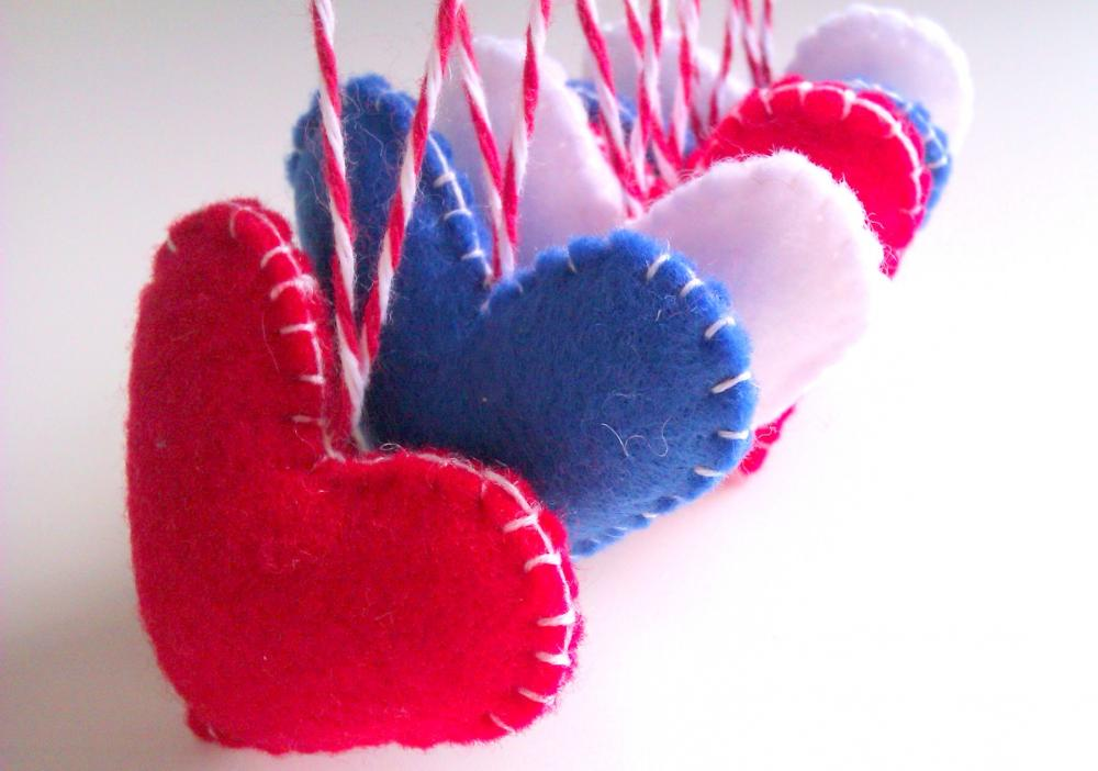 Independence Day Decorations - Patriotic Hearts, red, blue, white, uk, usa - Set of 6 - Ornaments/favors/decor/gifts