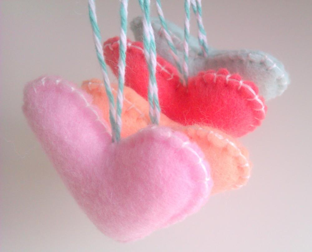 Wedding/party Hearts Decorations - pastel, pale pink, mint, peach,coral - Set of 4 - Ornaments/favors/decor/gifts