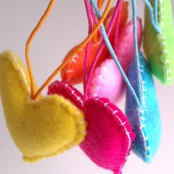 Home/Party Hearts Decorations - Vibrant, neon, rainbow, colorful - Set of 6 - Ornaments/favors/decor/gifts